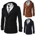Outono Inverno dos homens Lapela Double Breasted Windbreaker Trench Coat Outwear