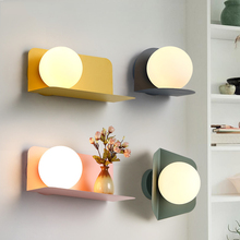Modern Wall Lamp LED Wall Sconces Bedside Living Room Aisle Loft Bedside Bedroom Lamp Glass Iron Wall Sconce Light Fixture lamp bedroom bedside led wall lamp aisle stairs led lighting children room creative lamps wall sconces living room wall light