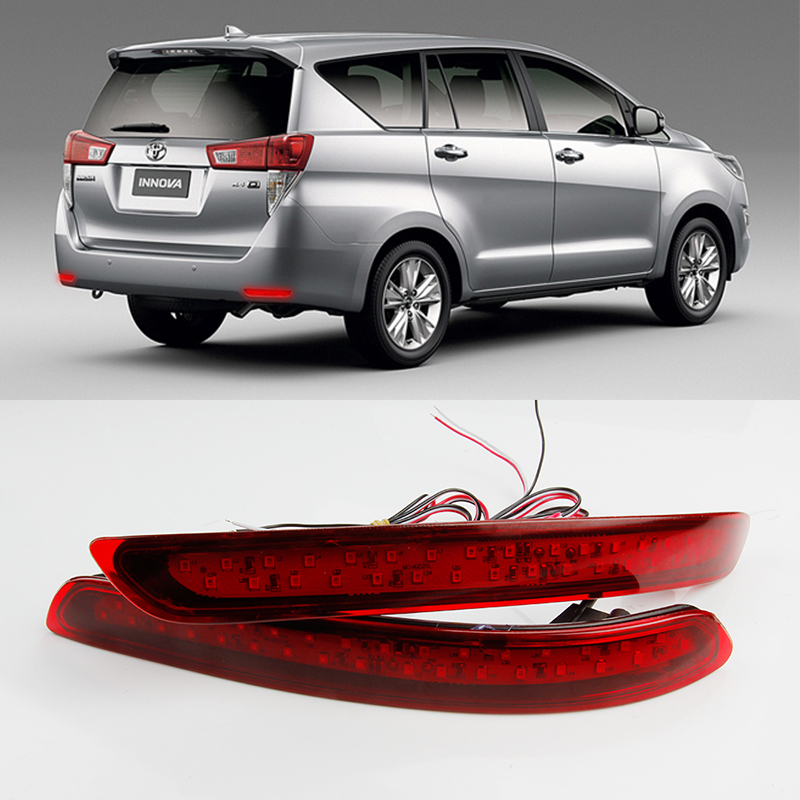 OKEEN For Toyota Innova 2016 LED Rear Bumper Light Rear Fog Lamp Auto Bulb Brake Light Reflector Light 2pcs 12V red car-styling brand portable waterproof wire fish finder lcd monitor sonar sounder alarm fishfinder 2 feet to 328 feet echo fishing finder