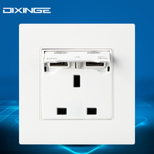 British standard power outlet socket with 2 USB charging 86 PC panel  YS-2USB