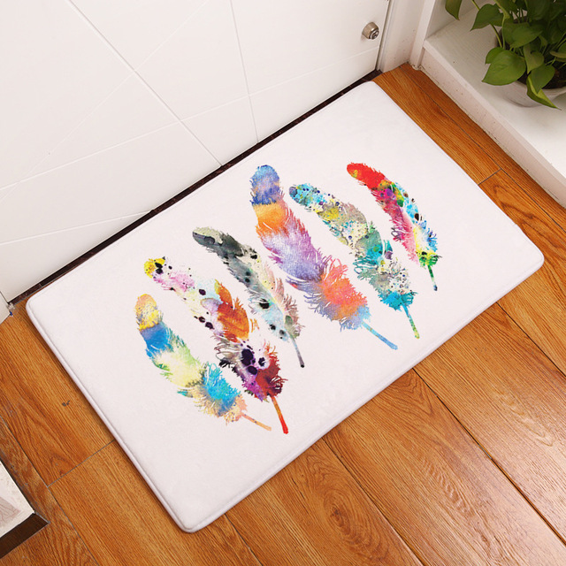 floor mats for kids. MDCT Rainbow Feather Arts Pattern Door Mats Anti-skid Hallway Doorway Entrance Welcome Floor For Kids