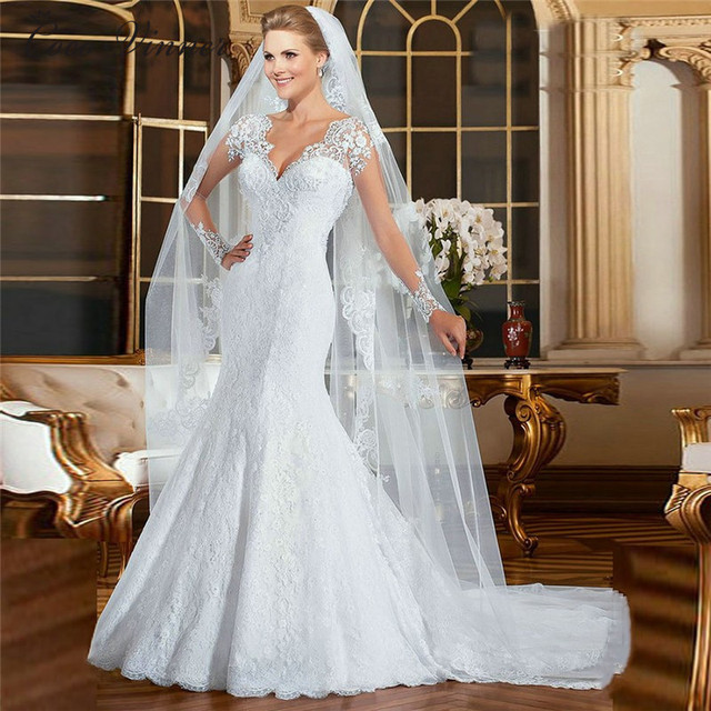 Europe Mermaid Wedding Dress 2021 New vestidos de noiva Pearls Beading Embroidery Illusion Lace Mermaid Wedding Dresses W0021 2