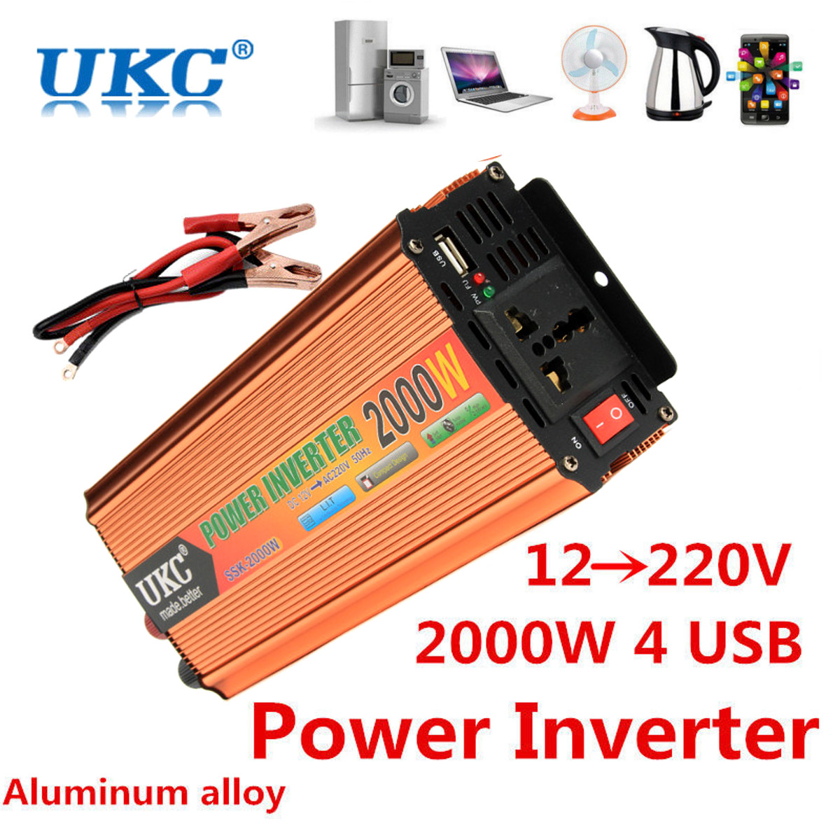 Car Inverter 12V 220V Peak 600/1000/2000/4000W Power Inverter Voltage transformer inverter 12V 220V Power Supply Switch