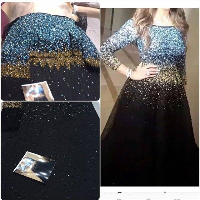 super popular 72353 32893 US $187.0  Glitter Blu e Oro Perline Abiti Da Sera Lungo 2017 Tre Quarti  Plus Size Prom Dress Ultimo Vestito Convenzionale Marocchino Caftano in ...