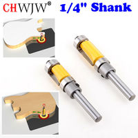2pcs Flush Trim Router Bit Top Bottom Bearing 1 4 Shank Woodworking Tool Woodworking Router Bits