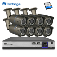 Techage H 265 8CH 4MP POE NVR CCTV System 2 8mm 12mm Varifocal Zoom Lens IP