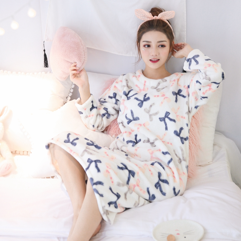 Thick Warm Flannel Nightgown For Women Autumn Winter Long Sleeve Coral Velvet Nightdress Girls Cute Bow Print Night Dress Nighty