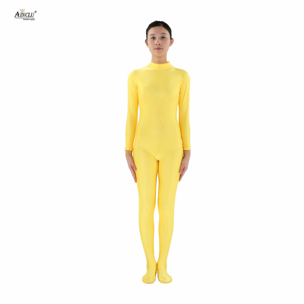 Ainclu Women Lycra Spandex Yellow Skin-tight Zentai Without Head and Hands Adults Dancewear Costume Hallween Bodysuit