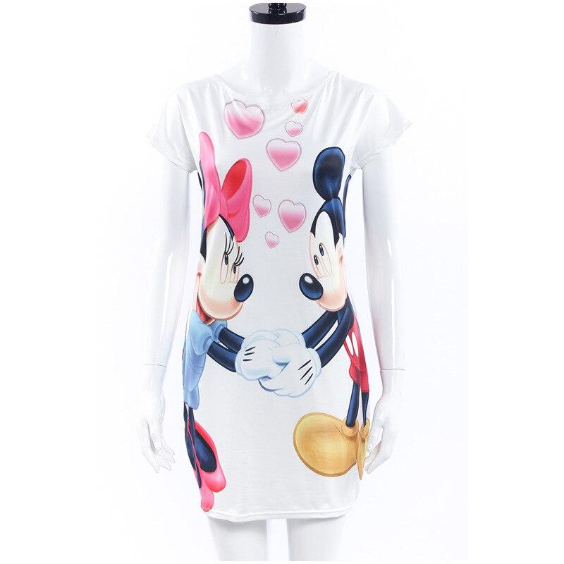 2017 новые моды для женщин лето плюс размер s-3xl коротким рукавом тонкий bodycon мультфильм мышь печати sexy mini dress vestido курто cortos