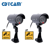 2pcs/ lot Fake Dummy Camera Waterproof Outdoor Indoor  CCTV Surveillance Camera  Shop Home Security With LED Light Fake Camera