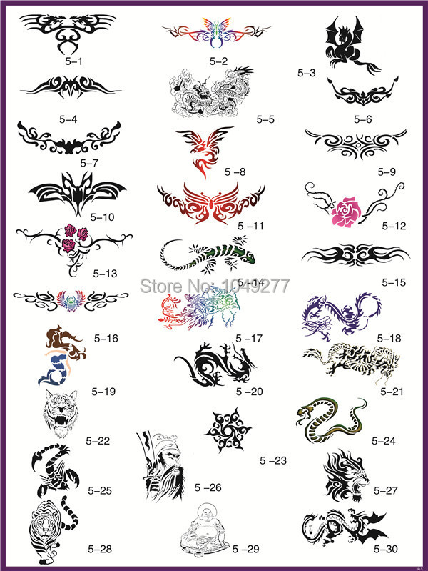 free shipping 30 designs body art temporary airbrush tattoo stencil template book 5 big size. Black Bedroom Furniture Sets. Home Design Ideas