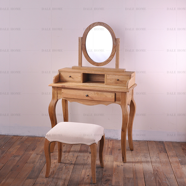 Superieur Preferential Export Vintage French Furniture French Country Oak Vanity  Mirror Dressing Table And Stool Kit