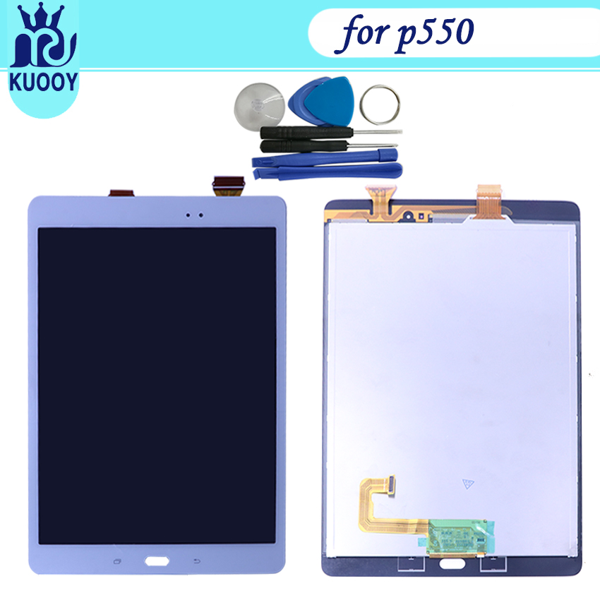 New P550 LCD Touch Screen For Samsung Galaxy Tab A 9.7 SM-P550 P550 Display Sensor Glass Touch Panel Digitizer Assembly+TOOLS for samsung galaxy s4 i9506 lcd touch digitizer screen frame bezel with free tempered glass and repair tools