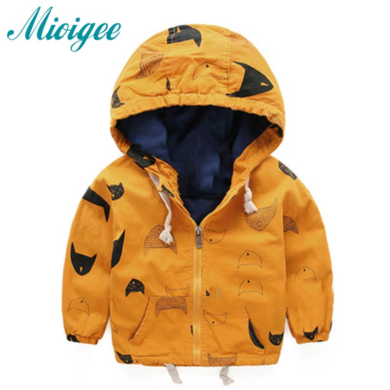 Mioigee 2018 Spring Autumn Boys Jacket Outwear Cotton Kids Children Teenage Coat Child Fashion Zipper Hooded Clothes 18M-8T