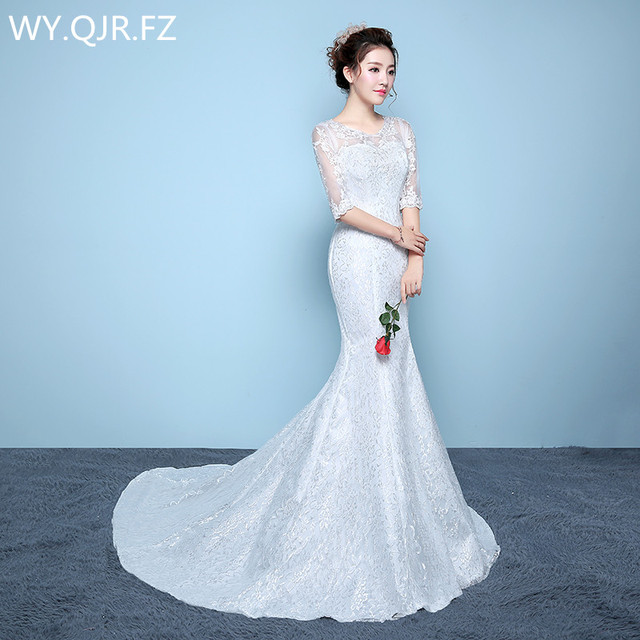 N042b New Spring Summer 2017 Lace Up Fish Tail Slim Halter Bride Wedding Party Dress
