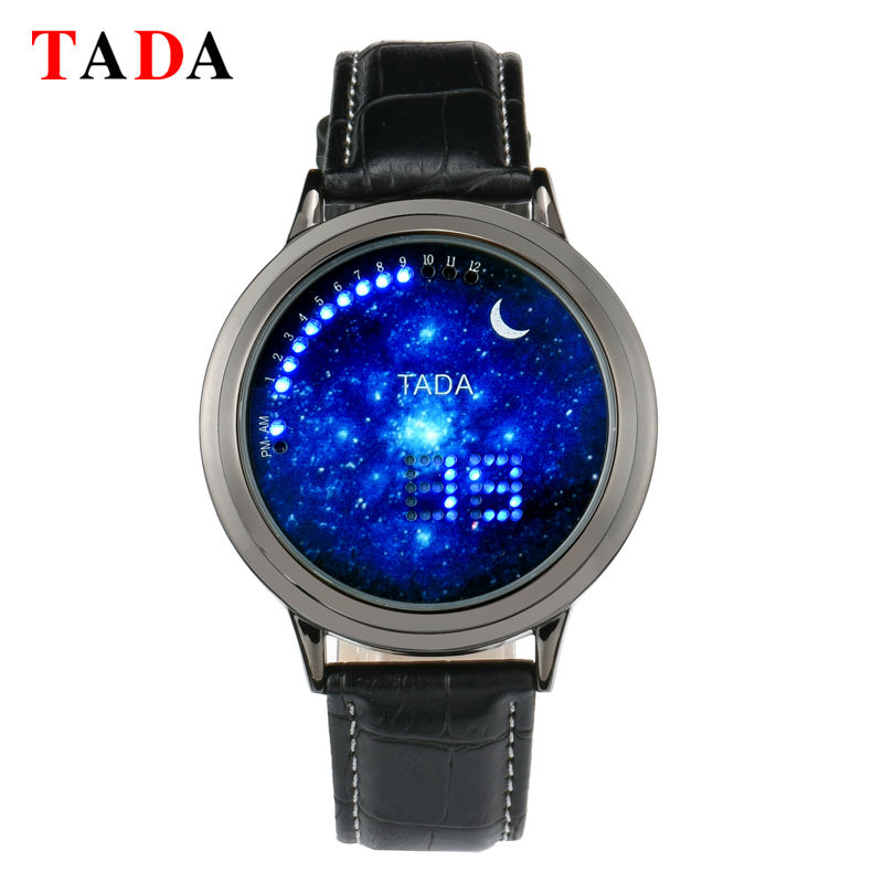 Creative personalitate moda moon albastru mingea LED ceas curea din piele bărbați femei cuplu ceas sport casual electronice ceas digital