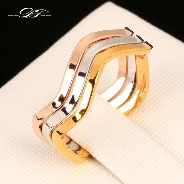 Double Fai Simple Style 3 Color Rounds Wave Rings Rose Gold Color
