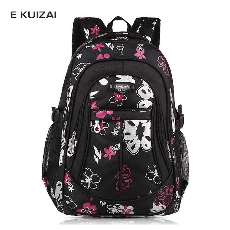 13687806aec3 Купить EKUIZAI детские школьные сумки для девочек детские 2018 цветочный  принт рюкзаки сумка на плечо Начальная школьная сумка черный Bolsa Escolar  Цена ...