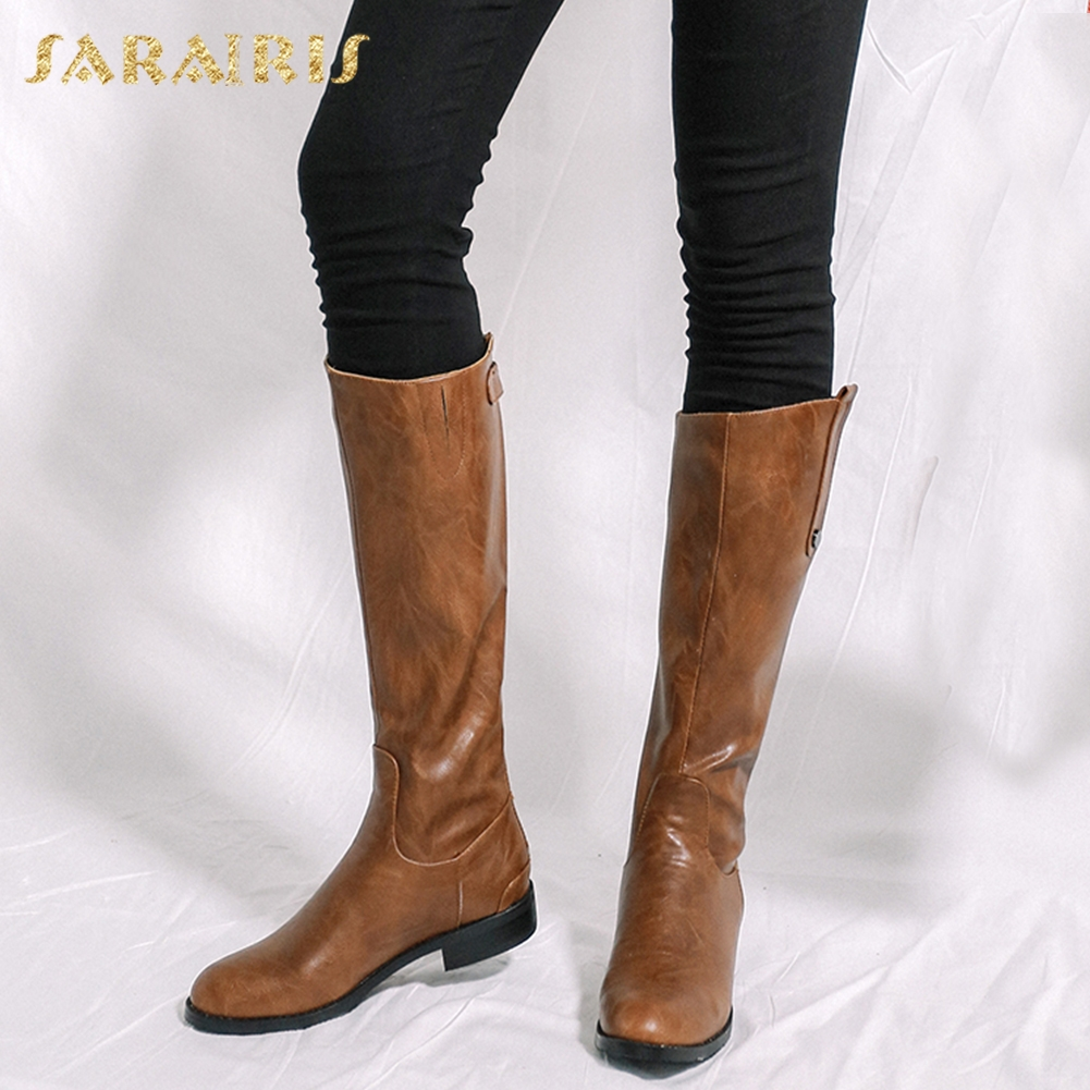 SARAIRIS 2018 plus size 34-43 New Hot Sale Knee High Boots Woman Shoes Zip Up Thick Heels Elegant Winter Boots Shoes Woman все цены