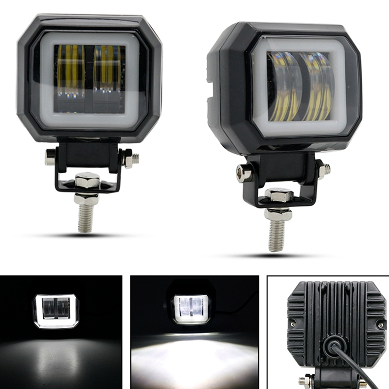 Motorcycle 20W 6000K Square Angel Eye Led Work Test Light
