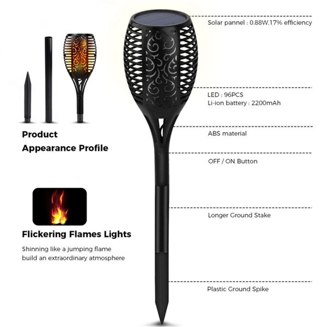 LED Solar Torch Light Outdoor Flickering Flame Lamp for Path Garden Landscape Waterproof Yard Lights in Solar Lamps from Lights Lighting