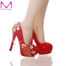 Red Pearl Bride Wedding Party Shoes Gorgeous Crystal Phoenix Party Prom High Heel Shoes Prom Event Pumps Handmade Good Quality
