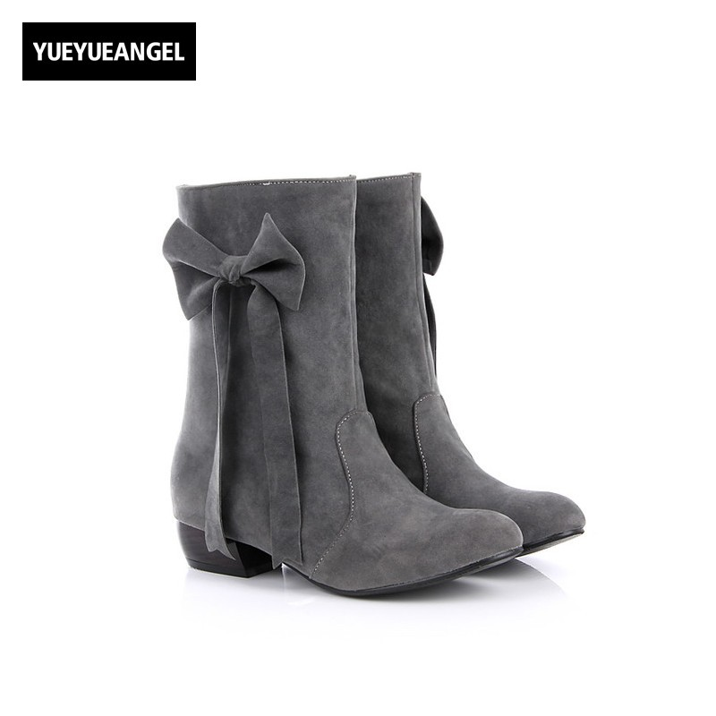 Plus Size Korea Pointed Toe Block Chunky Heel Suede Boots Womens Autumn Butterfly Knot Cute Girl Shoes Woman Sapatos Mulher womens high boots vogue side zipper botas invierno mujer fashion buckle block chunky heel sapatos mulher suede size us 4 10 5