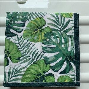 Image 1 - Servilleta de papel retro para mujer, pañuelo elegante, hoja de Monstera verde y azul, decoupage de flores, decoración para fiesta de cumpleaños y boda, hermosas servilletas