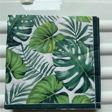 vintage napkin paper elegant tissue blue green Monstera leaf flower decoupage wedding birthday party decor beautiful serviettes