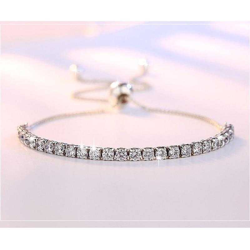XIYANIKE Featured Brand DEALS 925 Sterling Silver Sparkling Strand Bracelet Women Link Tennis Bracelet Silver Jewelry VBS4087 3
