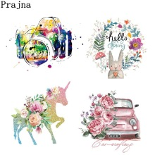 Prajna Unicorn Heart Camera  Iron-On Heat Transfers Cartoon Ironing Stickers Stripe On Clothes Iron Patches For T-shirt