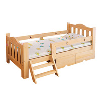 Solid Wood Children's Bed With Fence Simple Moder Student Single Bed Children's Furniture Crib Durable Pine Wood Bed With Ladder