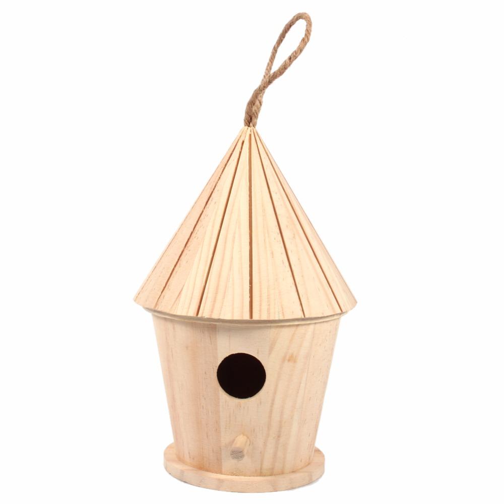 unid diy pintado a mano de madera casa del pjaro jaula loro nido de golondrinas home garden decoration
