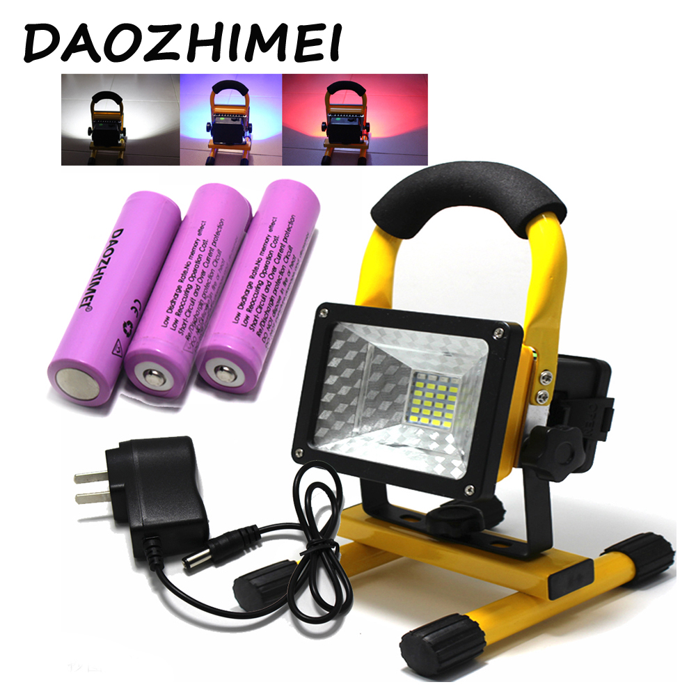 2018 New Flood Lights Rechargeable Led Floodlight Lithium-ion Battery 30wflood Lamp Portable Light Ip65+Charger+3x18650 battery