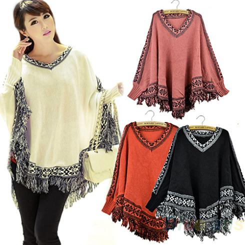 Hot Women Batwing Sleeve Pullovers Tassels Hem Cloak Poncho Tops Knitting Sweater Coat 0JNX