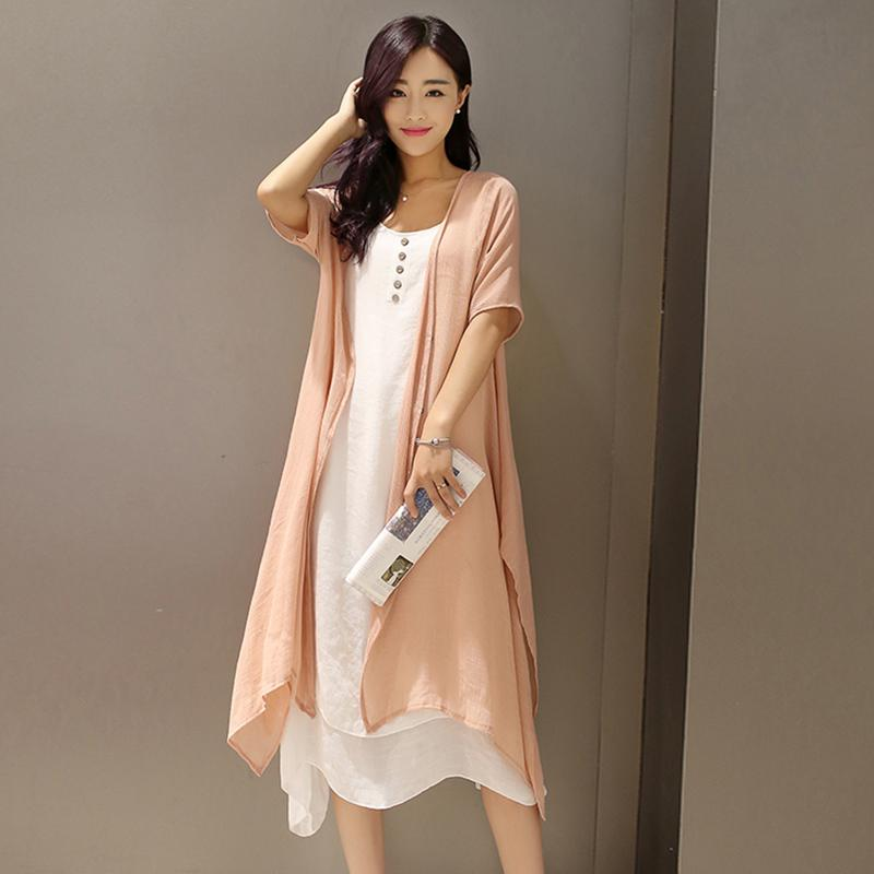 Yfashion Women Dresses Spring Summer Retro Linen Dress Summer Sleeveless Buttons Dress+Thin Coat Set Women Two Piece Set