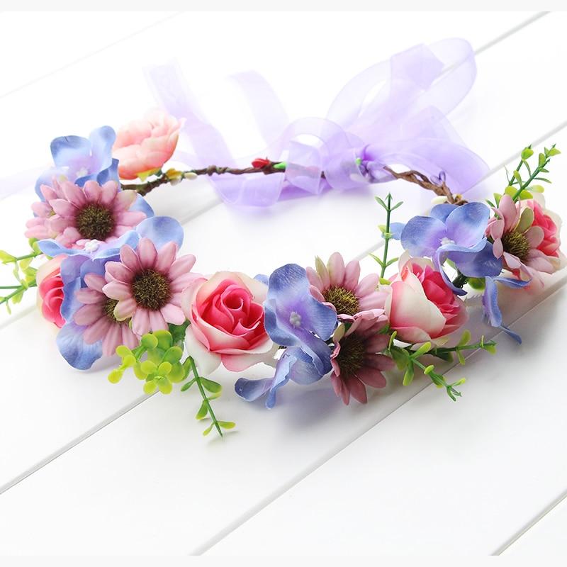 Rustikální fialová růžová modrá Květina Korunní čelenka Levandulová květina Vlasy Věnec Fialová Květinová Halo svatební Svatební Festival věnec