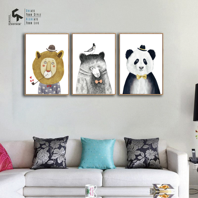 Create Recreate Animal Poster Lion Wall Art Canvas Painting Panda Nursery Decor Bear Prints Decorative Pictures