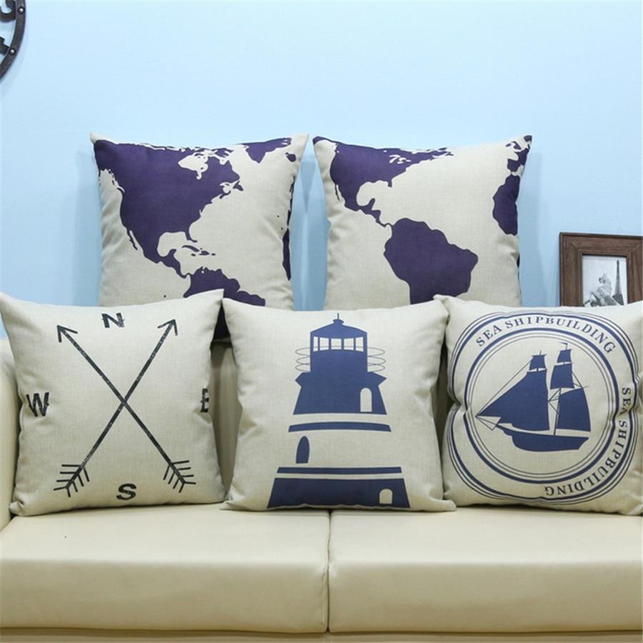 Hem dekorativa kuddar täcka tappning till soffa brev världskarta - Hemtextil