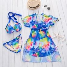 Купить с кэшбэком XARKE 3 Pieces Swimsuit Women Bikini Push Up Beach Dress Tunic Cover Ups Female Swimwear Saro Girls Bather Halter Bathing Suit