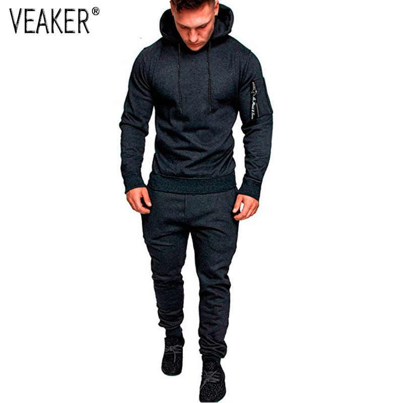 499128b2b8c 2018 Autumn New Men s Long Sleeve Set Male Sweatpants Sweatshirts Tracksuit  Sets Gyms Zipper Hoodies Jogger