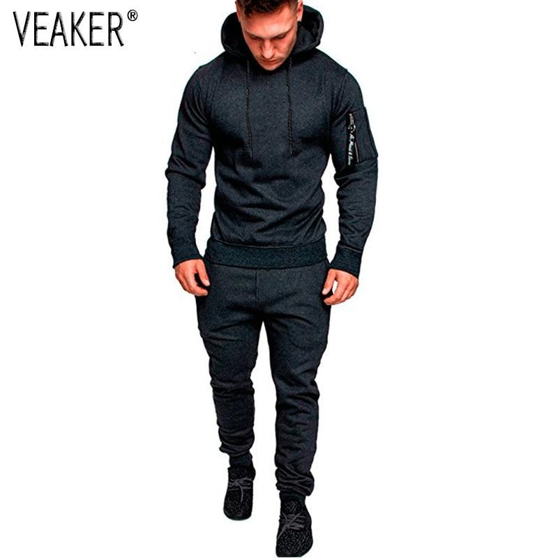 2018 Autumn New Men's Long Sleeve Set Male Sweatpants Sweatshirts Tracksuit Sets Gyms Zipper Hoodies Jogger Sportswear Suit 3XL