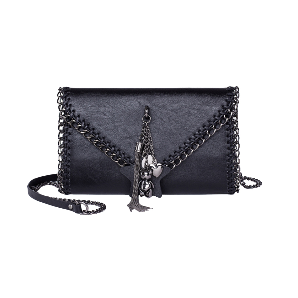 KEYTREND Women Shoulder Crossbody Bags Tassel Chains Evening Bag Clutch Small Black Leather Messenger Handbags For Ladies KSB366