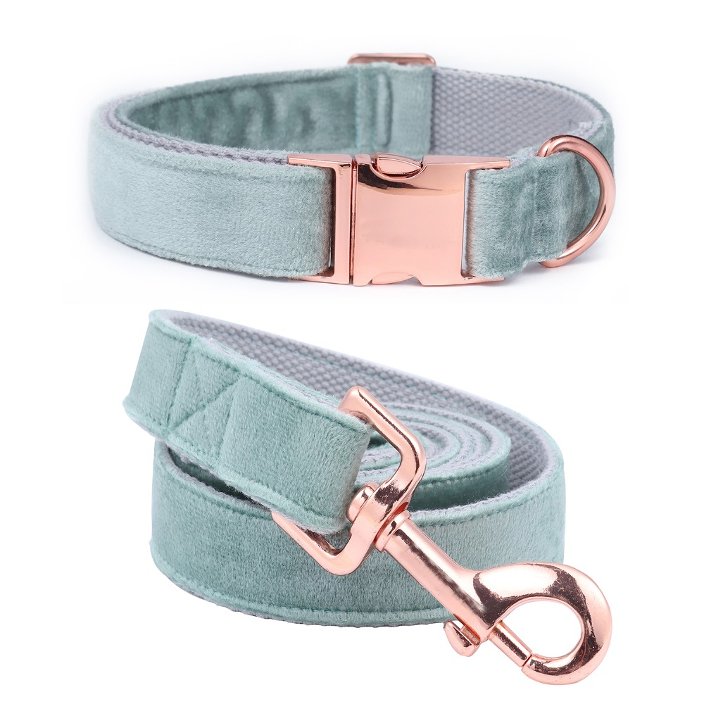 Unique Style Paws Christmas Designer Blue Velvet Adjustable Dog Collars And Leash Gold Buckle