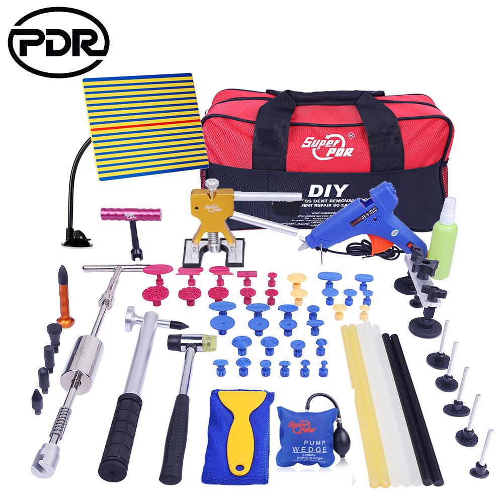 PDR Car Tool Kit Tools Auto Repair Body Dent Remover Repair Tools Set Dent Puller Bodywork Panel Repair Kit With Glue Tabs 5 second fix liquid plastic welding kit uv light repair tool glue kit