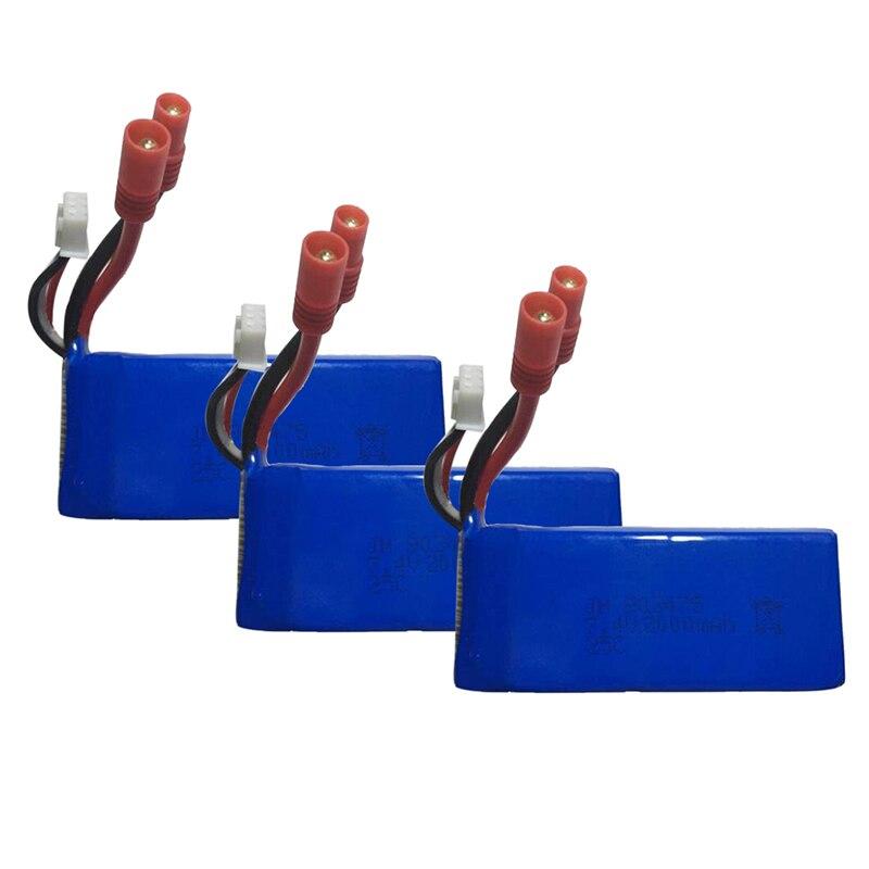 7.4V 2000mAh 25C Lipo <font><b>Battery</b></font>(Banana Plug) for <font><b>Syma</b></font> X8C <font><b>X8W</b></font> X8G RC Quadcopter,Pack of 3 Blue