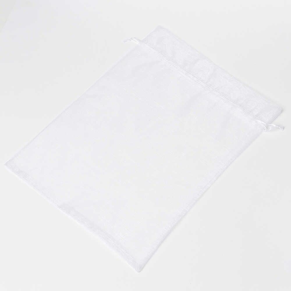 Venda quente 35x50 cm Organza Sacos de Embalagem Branco Grandes Sacos de Organza De Jóias Presente de Natal Presentes de Casamento de Embalagem Bolsas 50 pçs/lote