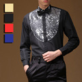 Trendy Hot Stage Performance Sequins Shirt Long Sleeve Ballroom Dance Costumes Men Shirt Latin Modern Dance Clothing