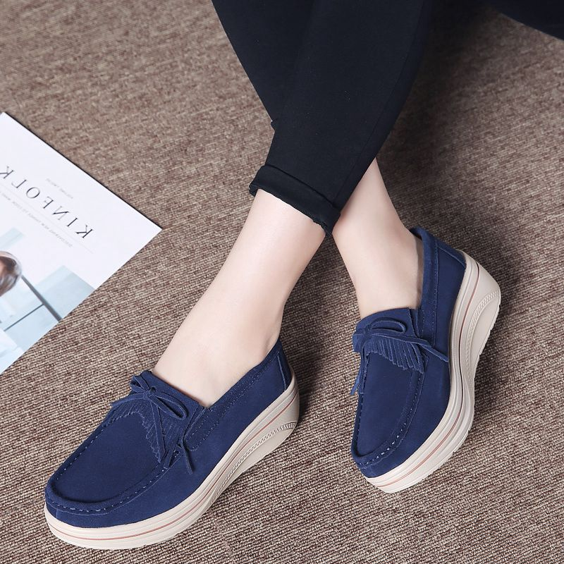 2019 Spring Shoes Woman Flats   Leather   Sneakers Women Casual Platform Shoes Slip On Flats Loafers Ladies Creepers Moccasins