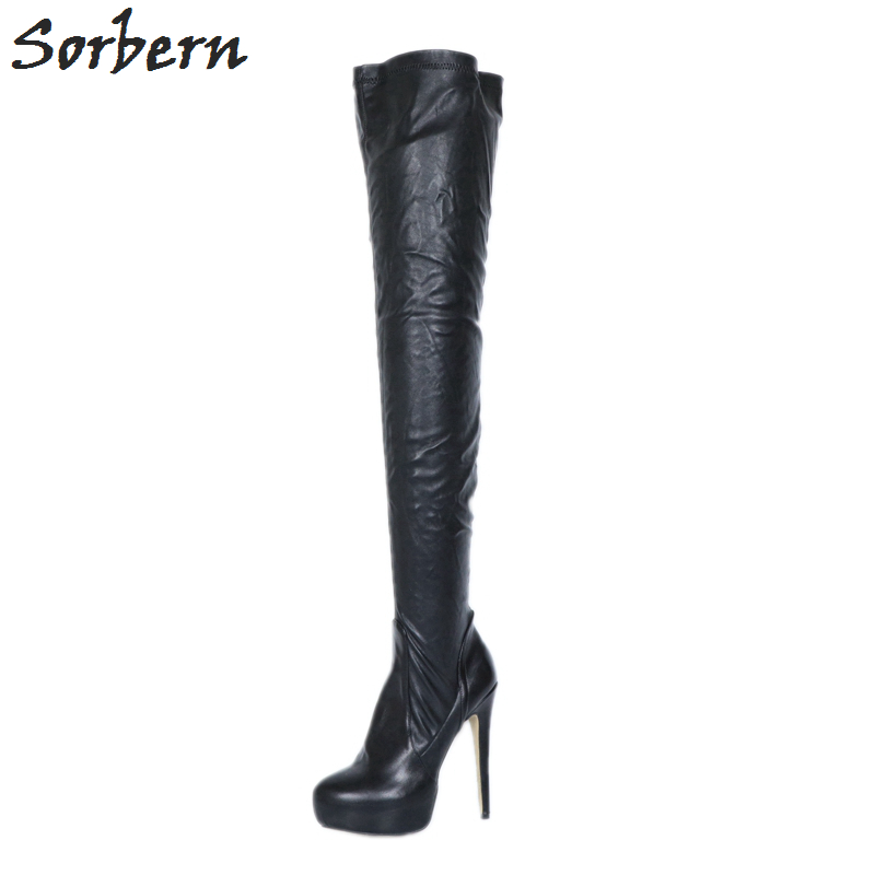 3c037e04d Sorbern Black Soft Matte Pu Med Thigh High Boots Platform Big Size Heel  Boot Women Size 11 Shoes Custom Color Thin High Heels - aliexpress.com -  imall.com